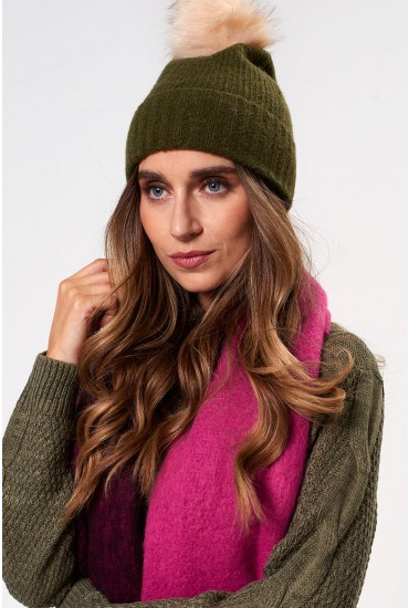 fbeeece239f12 Perfect for adding to your winter outfits is this bobble hat in green.  Featuring a knitted ribbed material with a faux fur pom pom, style with a  parka coat ...