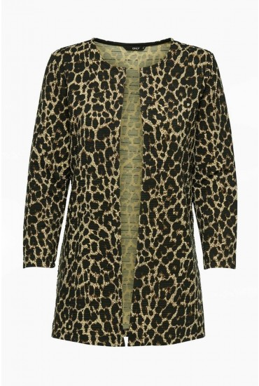 bef629d45b67 This cardigan in all over leopard print is an easy way to incorporate animal  print into your wardrobe. Featuring a rib design and open front, ...