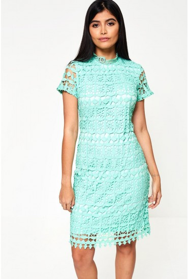 c5d26453b73 Bowery High Neck Lace Pencil Dress in Mint
