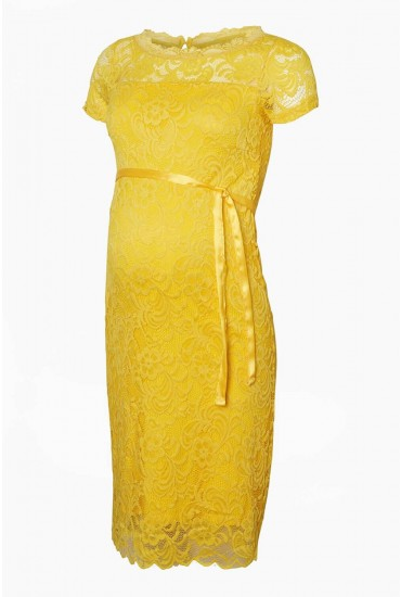 7082295854a Mivana Boatneck Lace Maternity Dress in Yellow