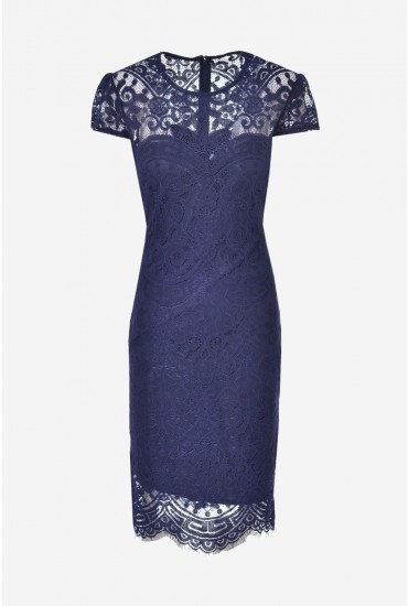 2eae284201e19 city goddess Gene Lace Occasion Dress in Navy | iCLOTHING