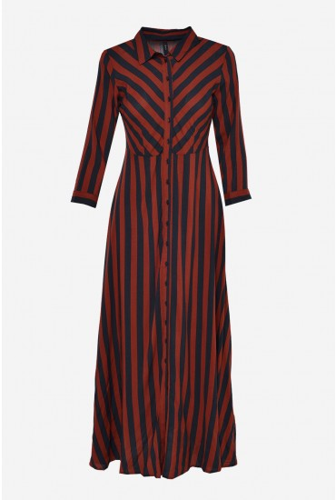 2db60ba31b5d07 In this seasons must have length this striped shirt dress looks great with  a knee high boot and hoop earring.