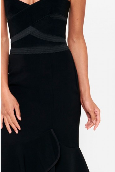 cc019a1b6b3 This black dress is one for your occasion wardrobe. Featuring a bandeau  neckline and frill hem