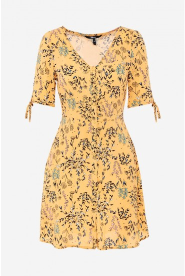 aa8d12ba1b Vero Moda Simply Button Up Midi Dress in Orange Floral Print