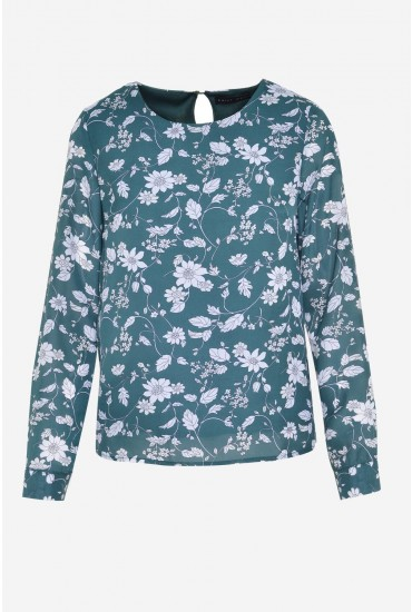 e876fbe2ff2f8c Saint Maine Ruby Long Sleeve Top in Green Floral Print | iCLOTHING