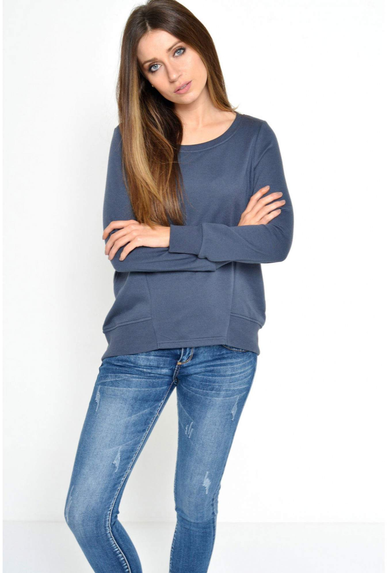 eb82f9fdc52a Noisy May Kara Christian L/S Sweater in Blue | iCLOTHING