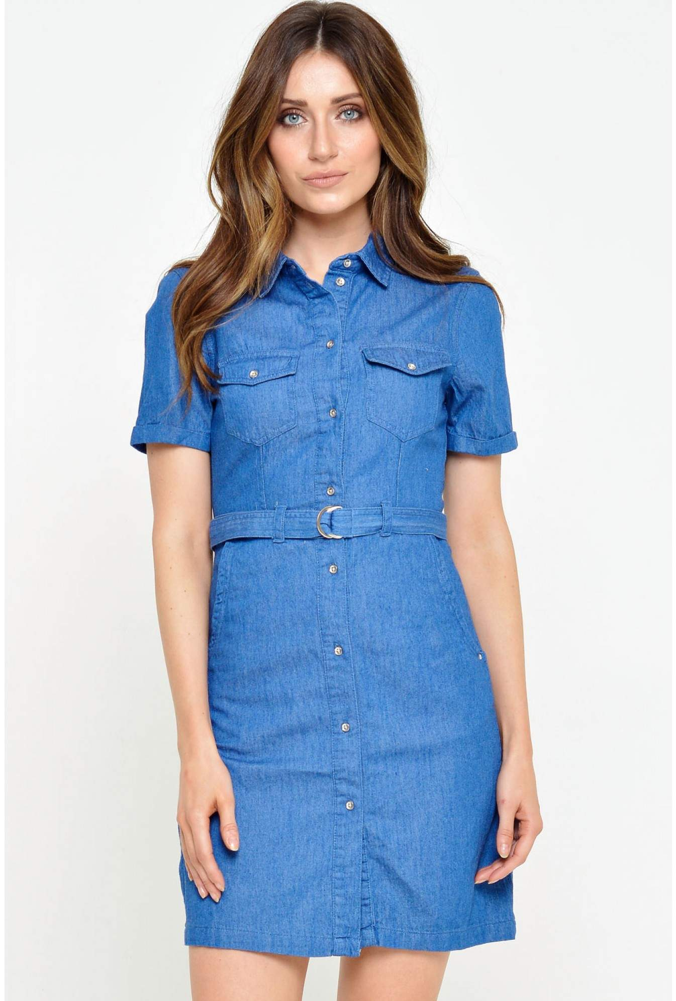 5fd7628ce69824 More Views. Vera SS Denim Short Belt Dress in Medium Blue. Vero Moda