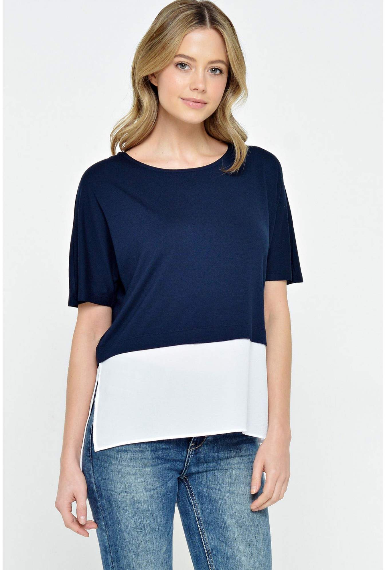 7af887f427b2 Noisy May Molly S/S Top in Navy | iCLOTHING