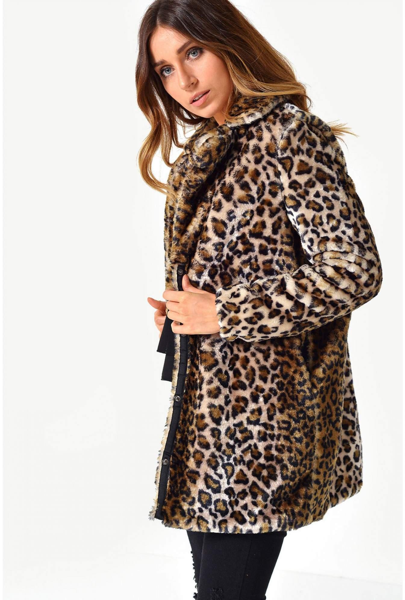 eb44e2b37997 Vero Moda Debora Faux Fur Animal Print Jacket | iCLOTHING