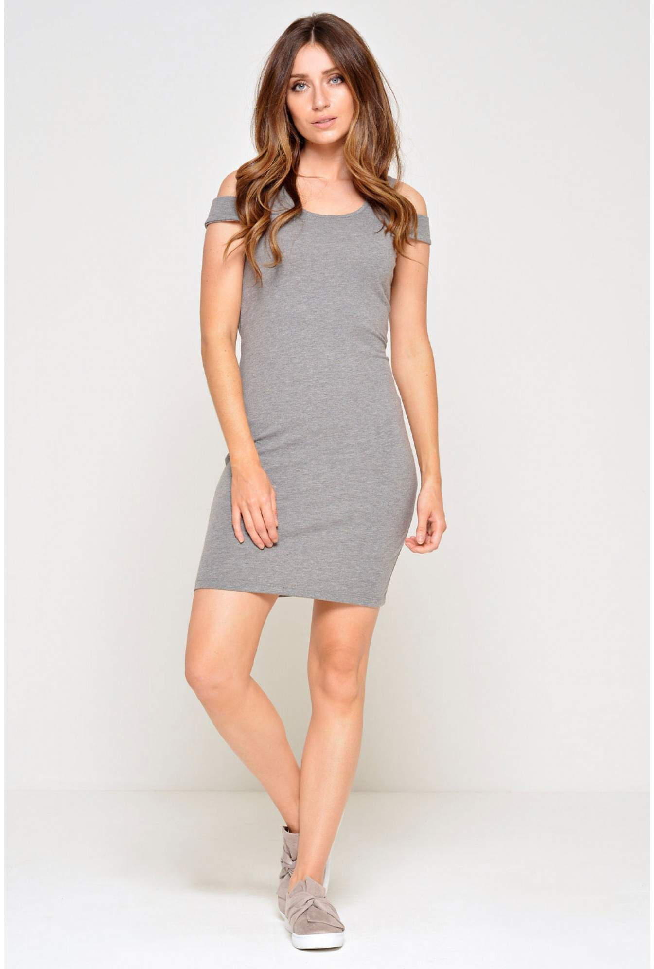 2453c3547e44 More Views. Laila Cold Shoulder Short Dress in Grey. Noisy May