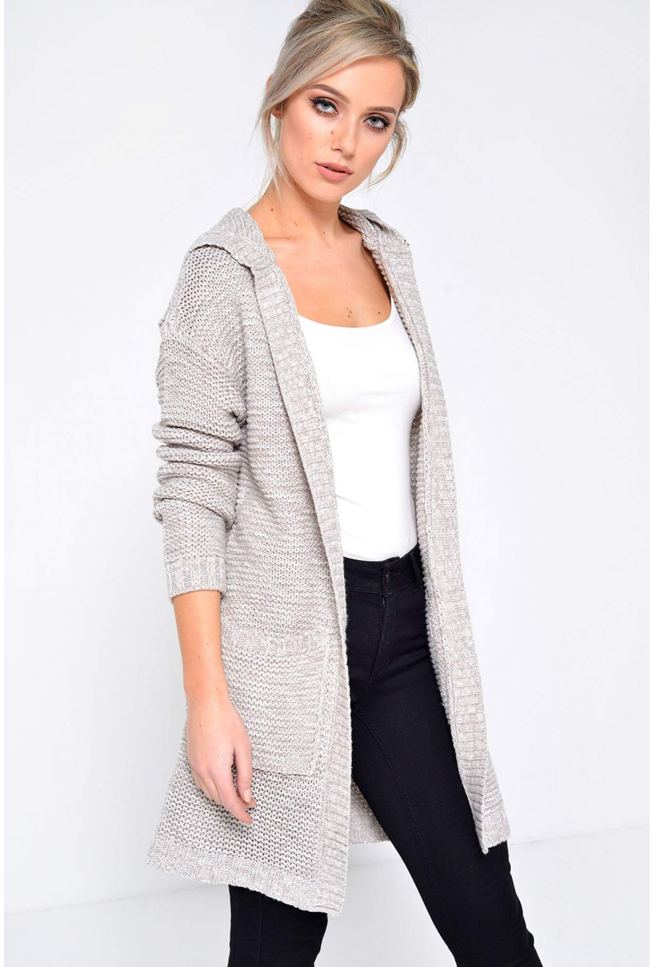Name Longline Hooded Knit Cardigan in Light Grey