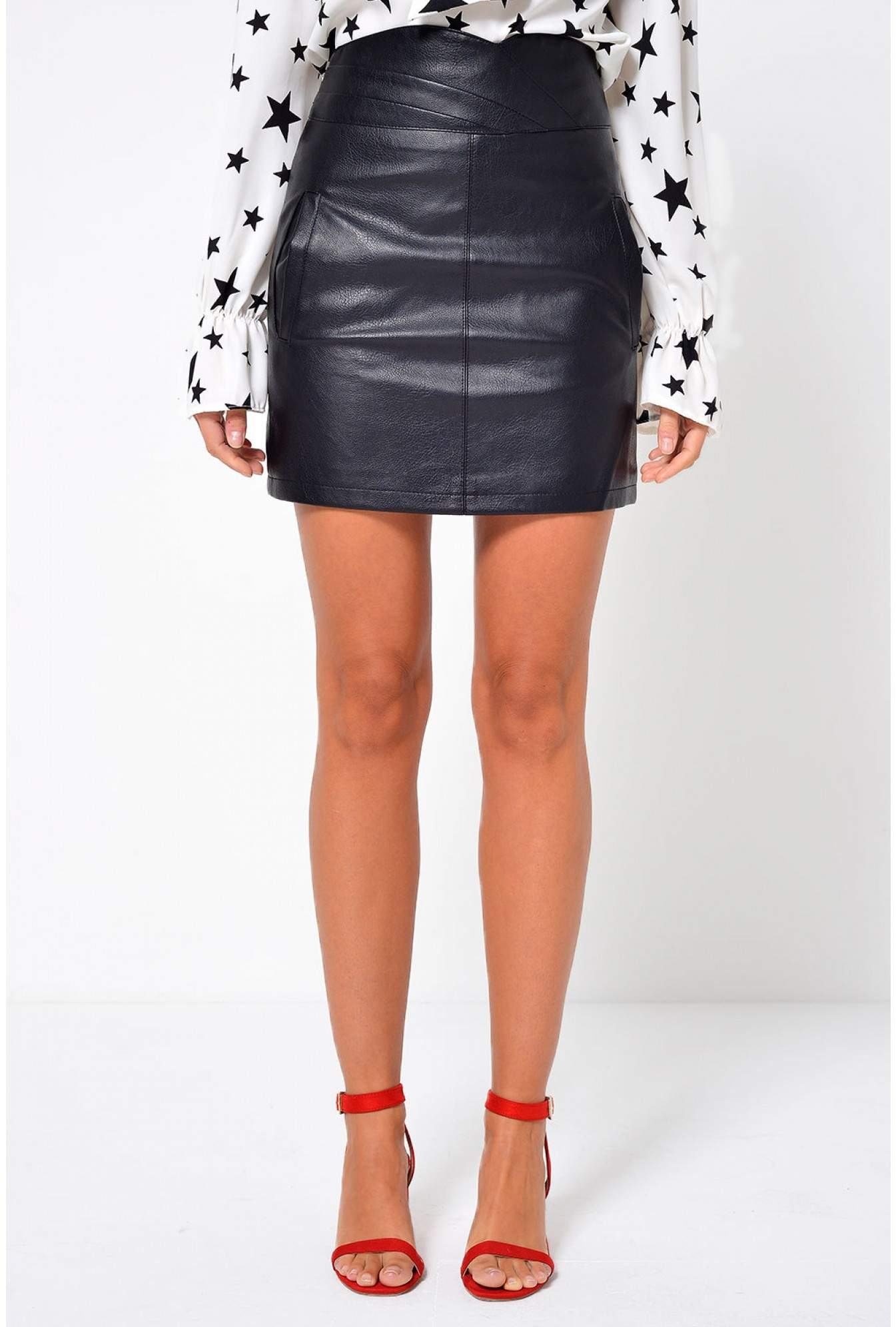 493ea9a36 Vero Moda Connery Faux Leather Skirt in Black | iCLOTHING
