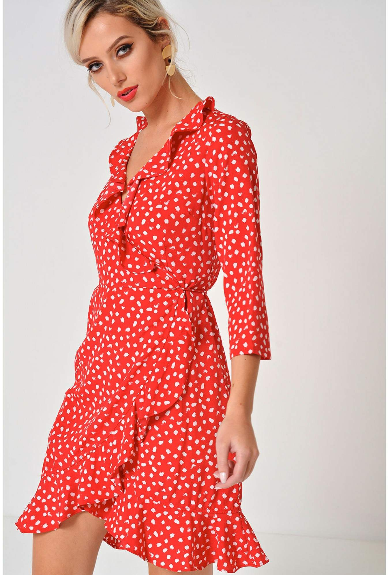 f49aaba04cd5 More Views. Henna Polka Dot Wrap Dress in Red. Vero Moda