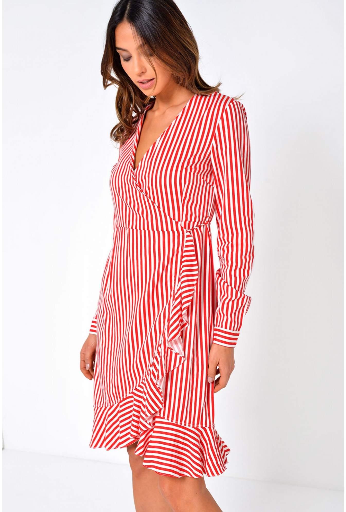 ad9592594fb11 Vero Moda Lizette Stripe Wrap Dress in Red   iCLOTHING