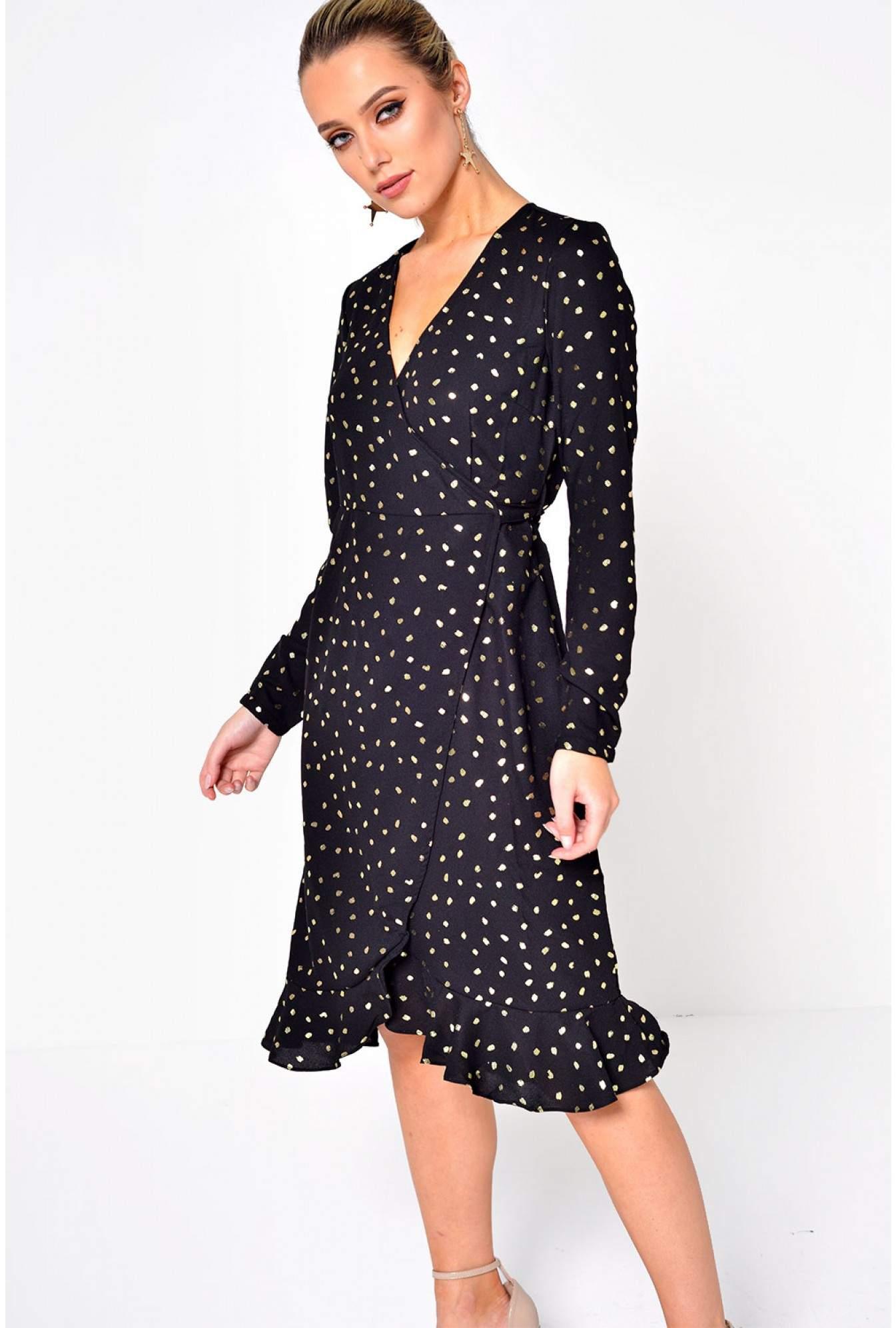 b4f80c788aca Vero Moda Henna Dot Foil Wrap Dress in Black