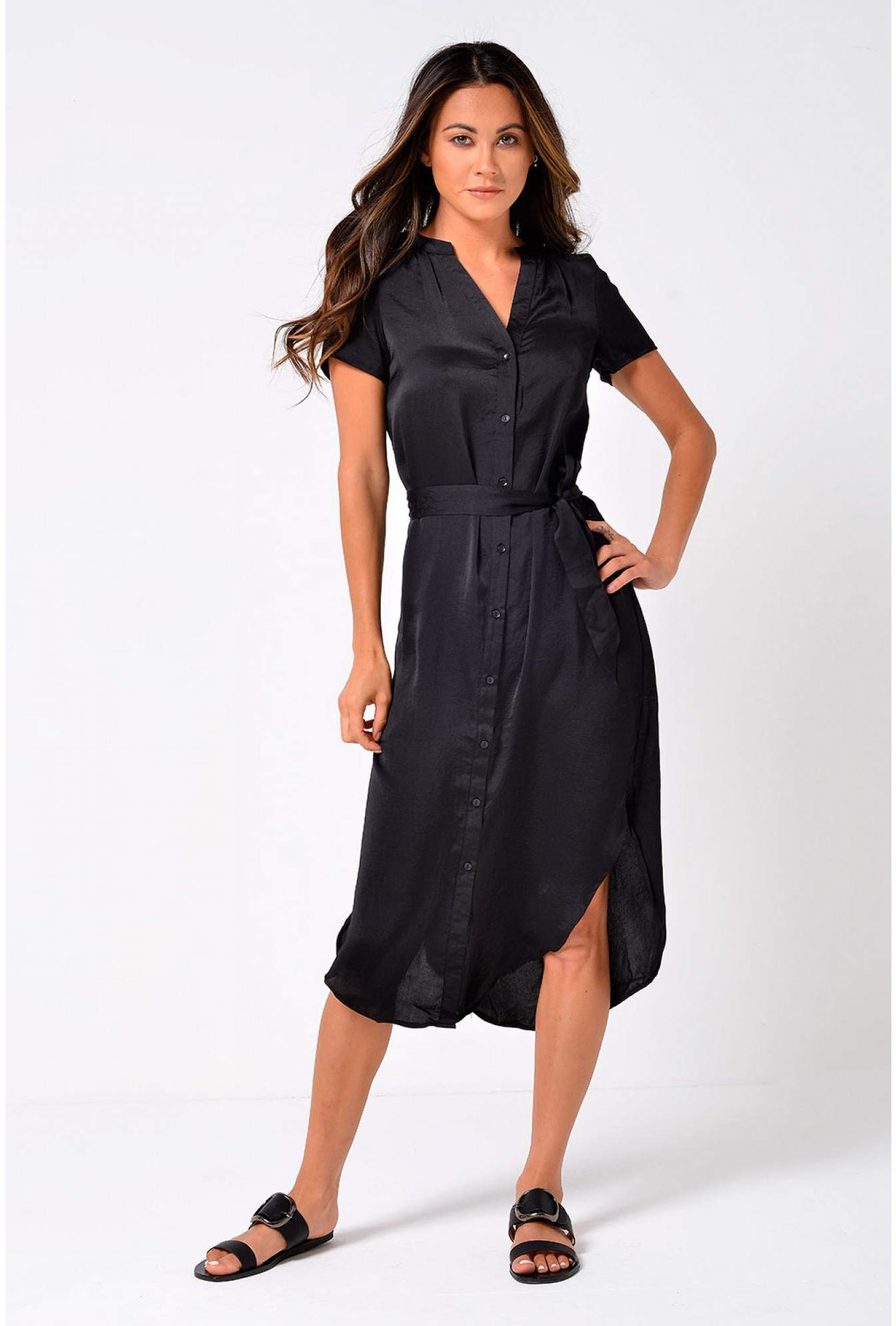 79320cdac14a7 Vero Moda Mala Belt Shirt Dress in Black | iCLOTHING