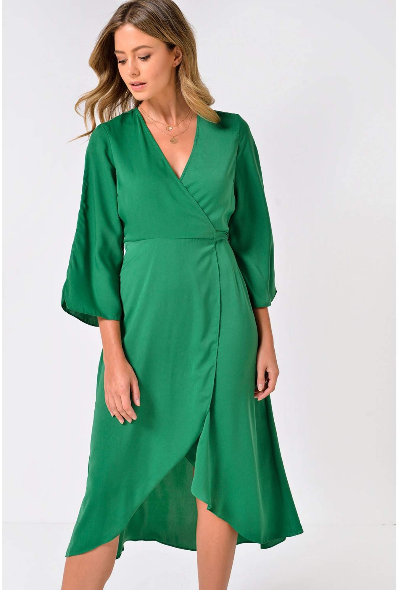 19cbfe409ea6 Vero Moda Scarlet Bell Sleeve Midi Wrap Dress in Green