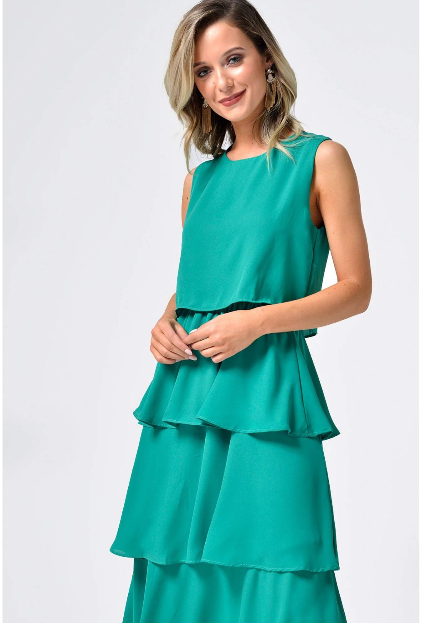 45b918aa Shikha Kelly Overlay Midi Dress in Green | iCLOTHING