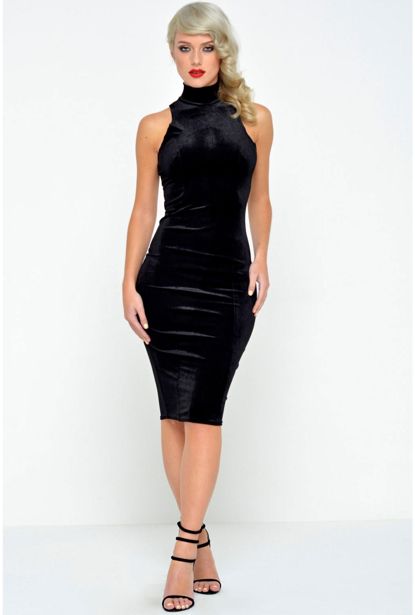 b693f6bcc6b07 Denise High Neck Velvet Dress in Black