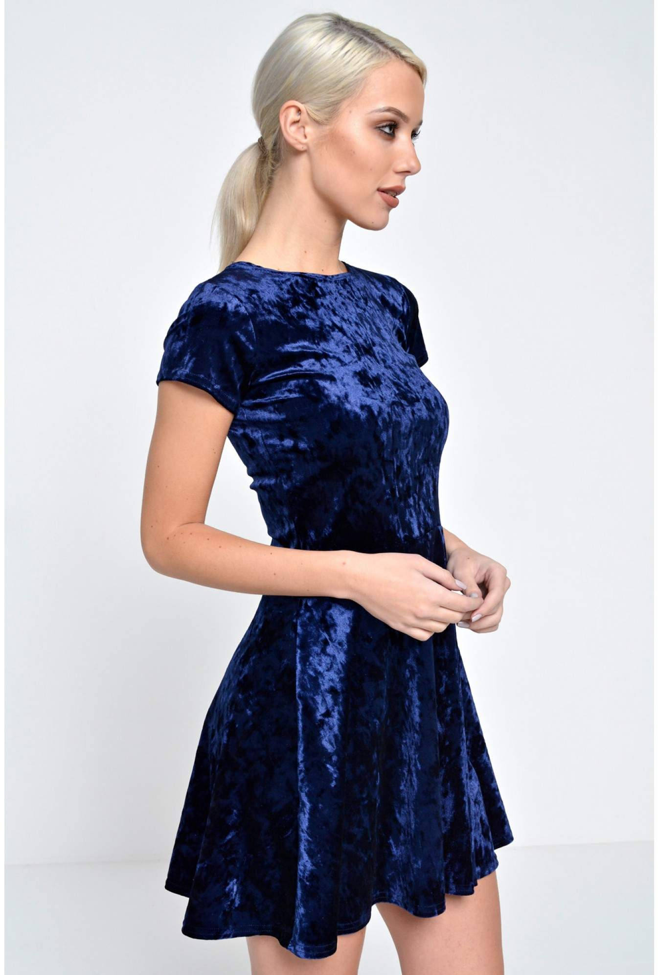 Jealousy Rita Velvet Skater Dress in Navy  07b4c086e