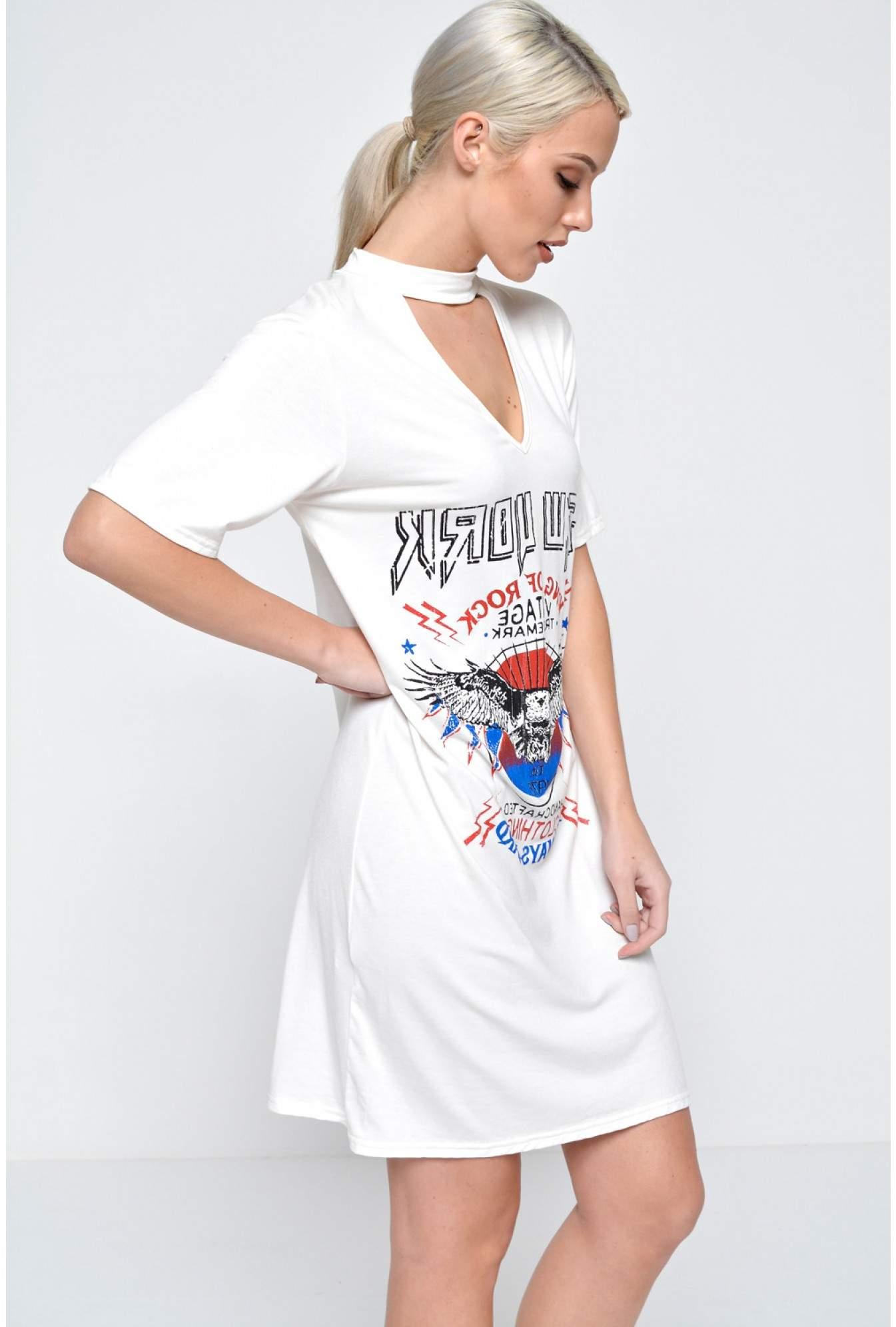 5c9ad107c6 Zara Cut Out Neck T Shirt Dress in Cream