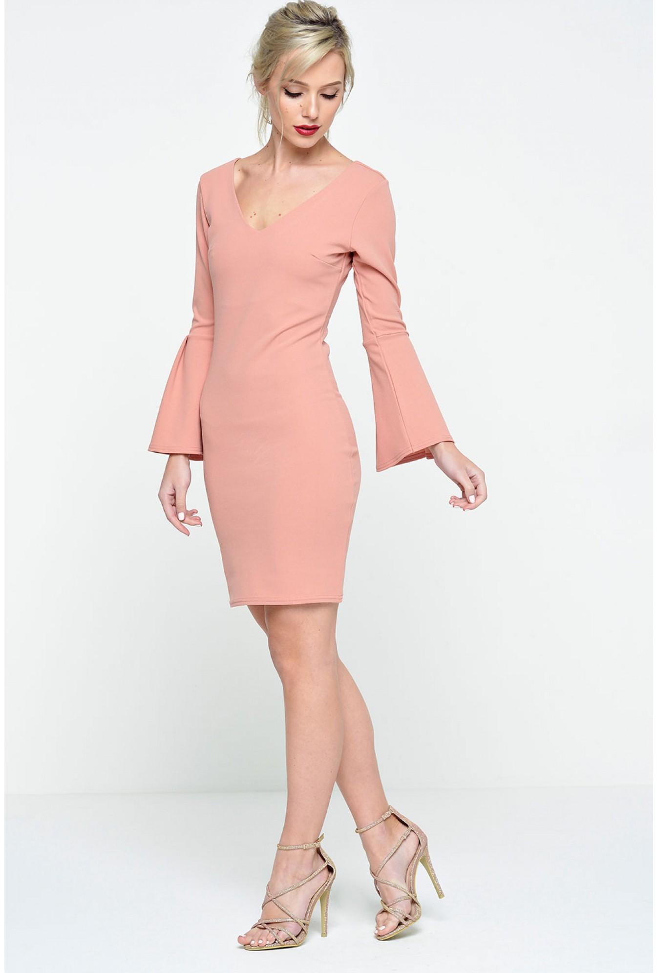 c8c34978 Premier De Toi Zara Bell Sleeve Bodycon Dress in Dusty Pink | iCLOTHING