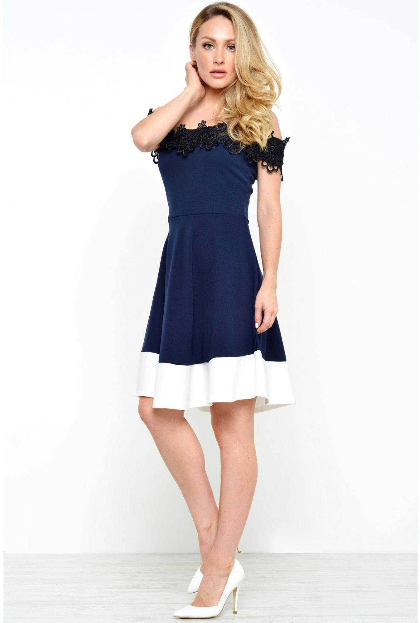 7c7620c58a Diva Rina Off Shoulder Crochet Trim Dress in Navy and White | iCLOTHING