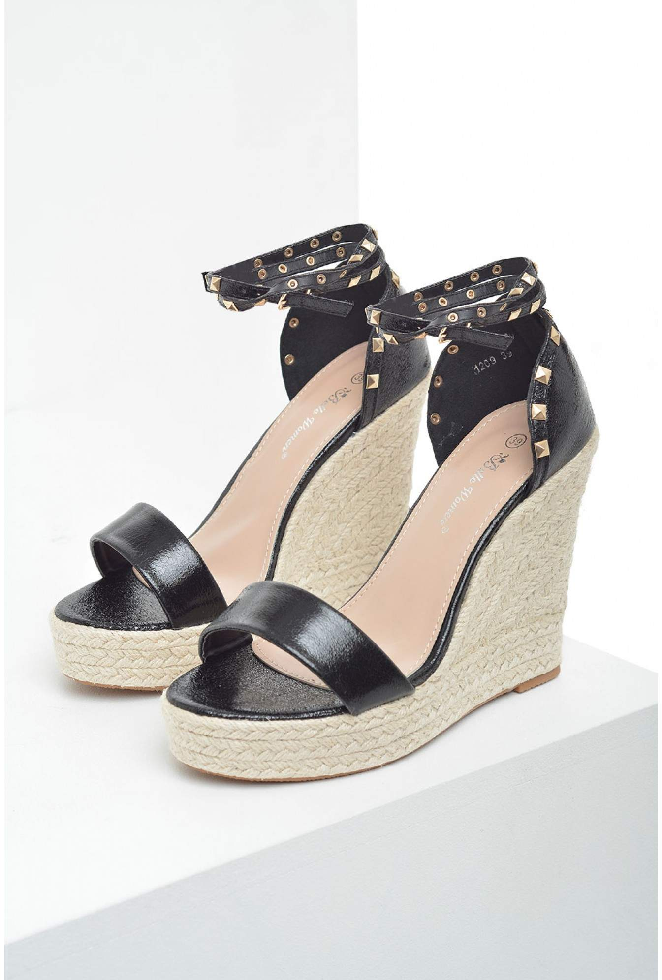 860b8e6adb5 Sandy Studded Espadrille Wedges in Black