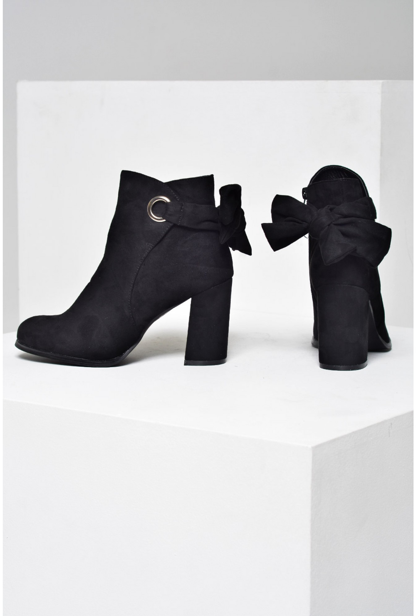 9d99d64ffe0 No Doubt Hannah Back Bow Ankle Boots in Suede Black | iCLOTHING