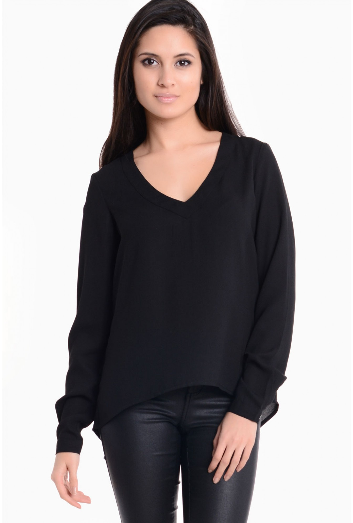 ef75a198477ad Vila Clementine V Neck Dipped Hem Top in Black | iCLOTHING