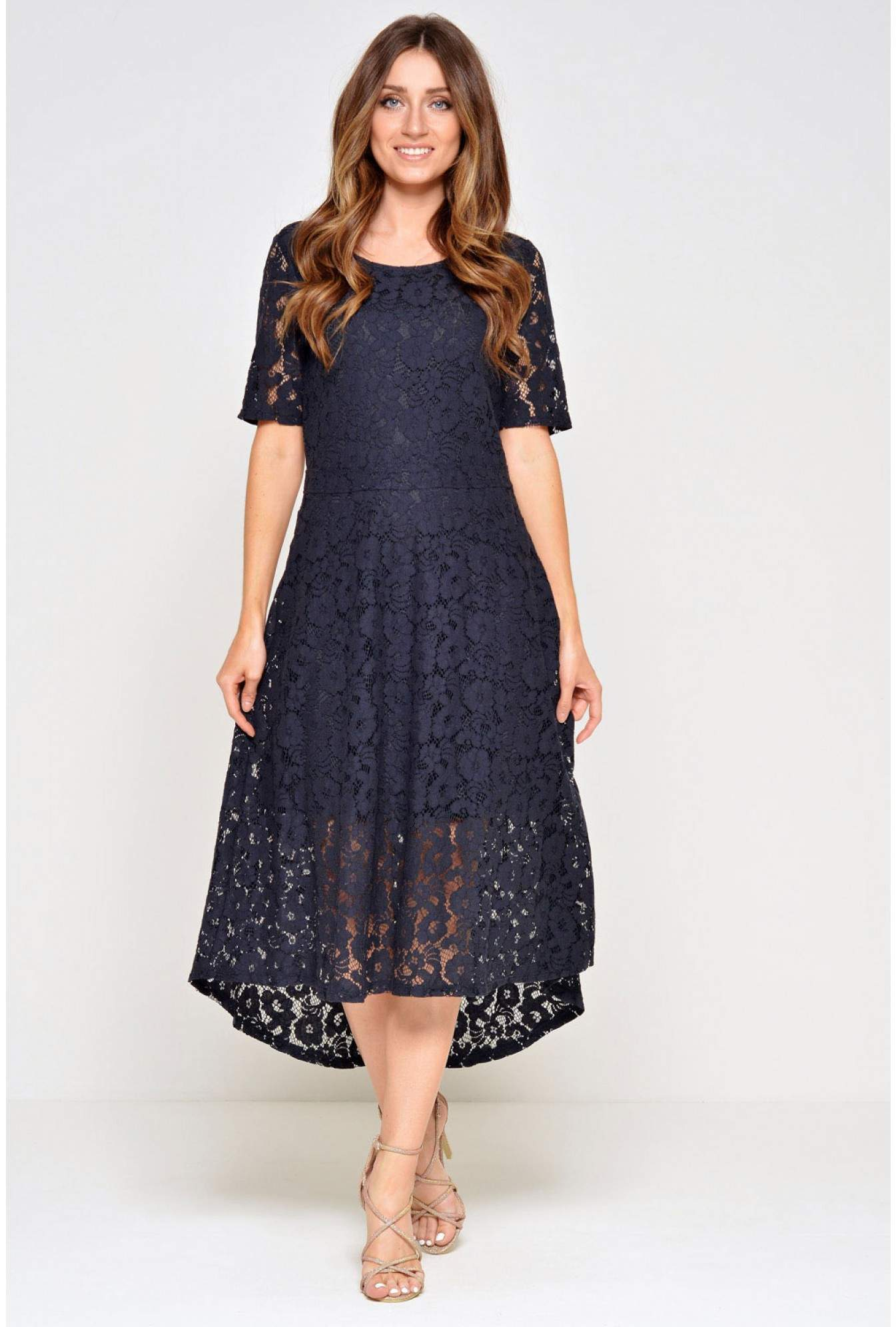 2879c0f87af3 Vila Cary 1 2 Lace Dress in Navy