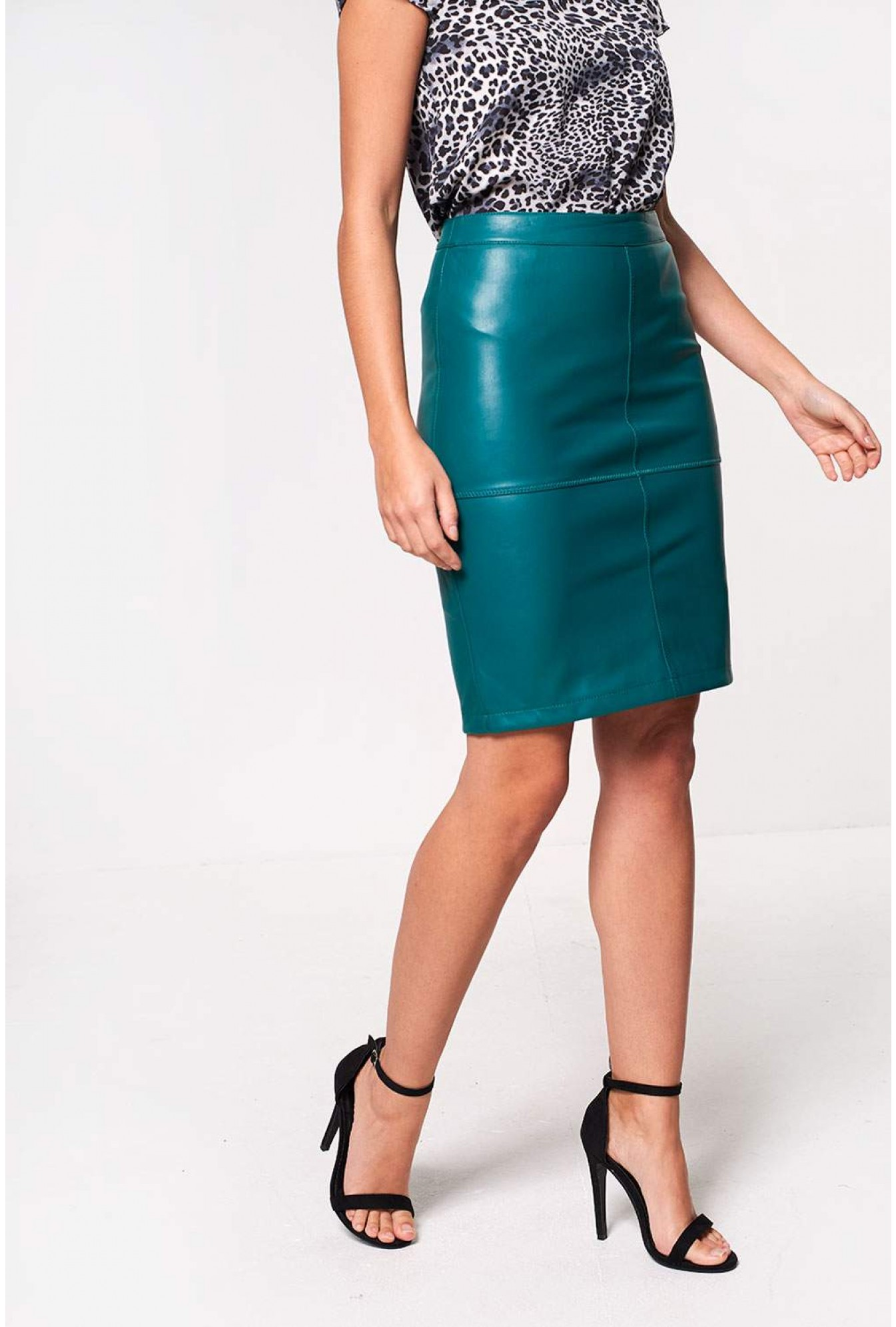 outlet store sale bottom price speical offer Pen PU Pencil Skirt in Green