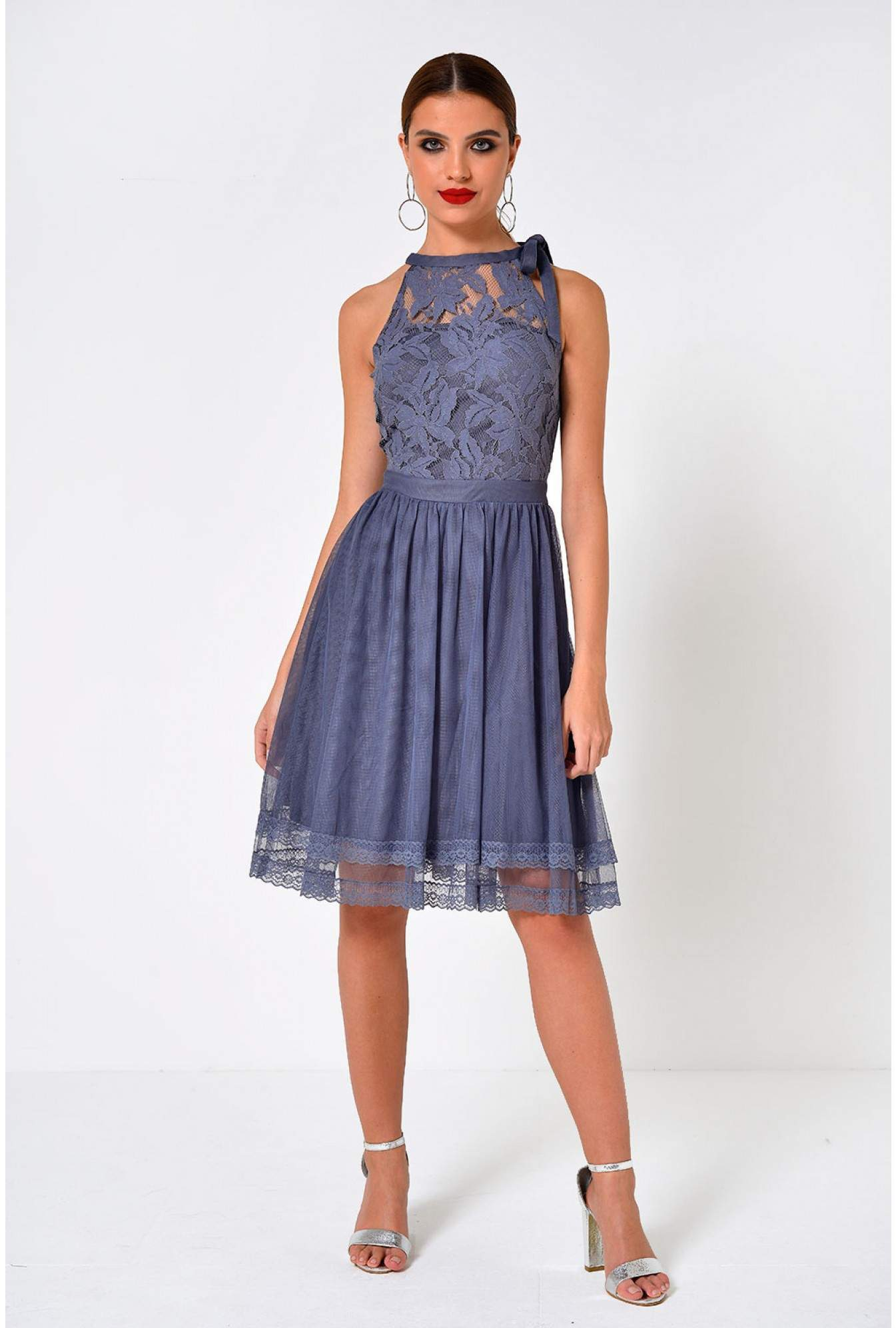 45329f5f416d More Views. Zinna Halterneck Short Dress with Crochet Lace in Grey