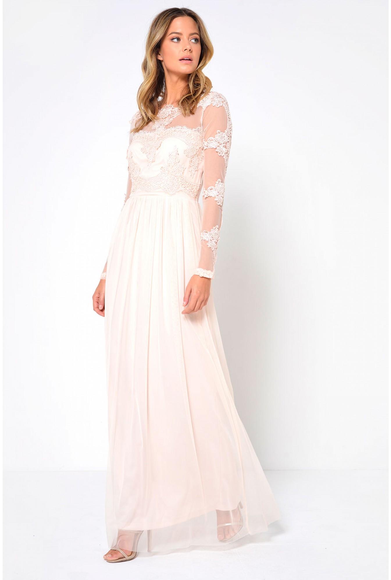 3266328fc Vila Gorgeous L/S Maxi Dress in Peach | iCLOTHING