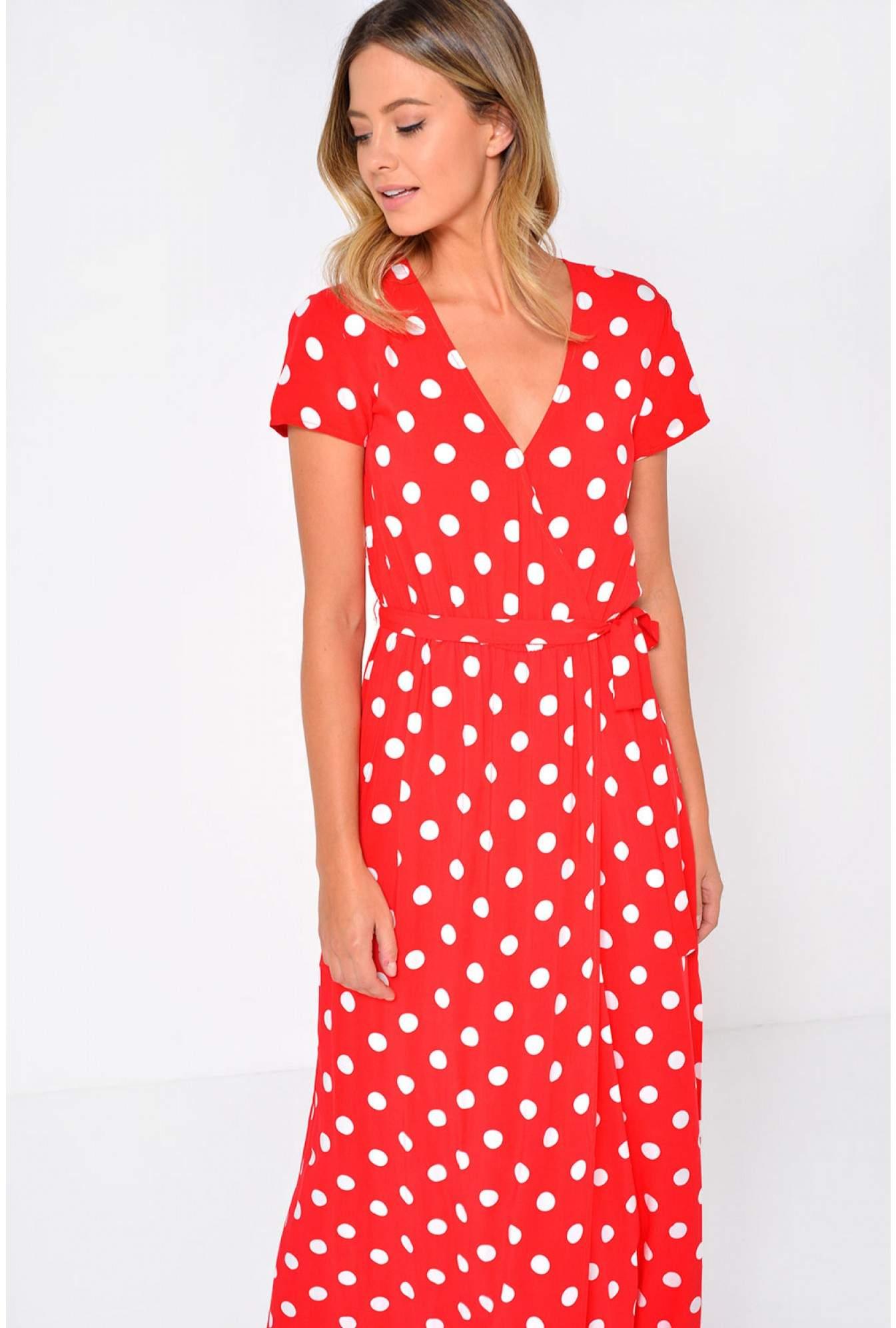 c328d2dd0b5 Vila Dots Wrap Maxi Dress in Red
