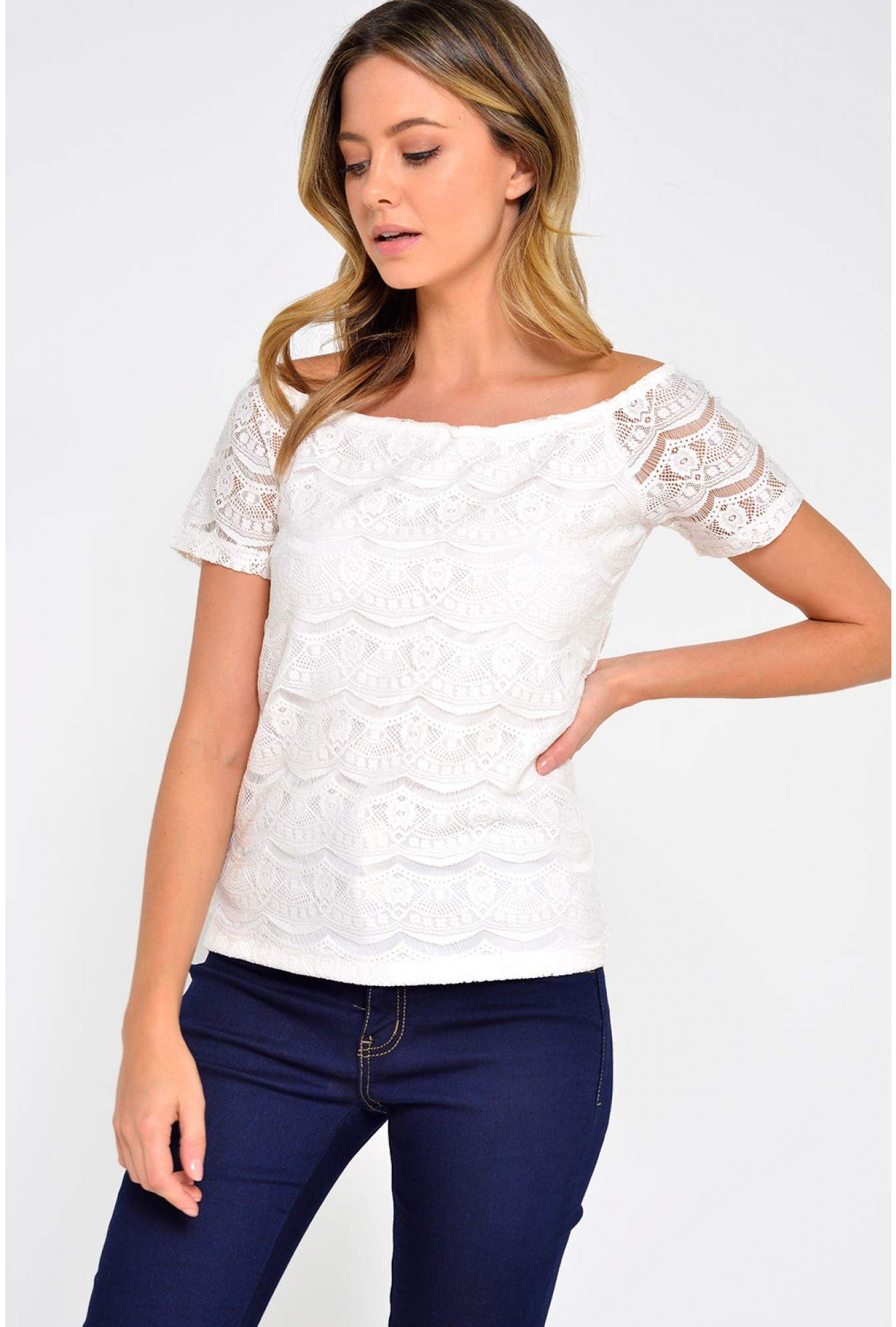 606cc18c9790f Vila Monie Lace Off Shoulder Top in White   iCLOTHING