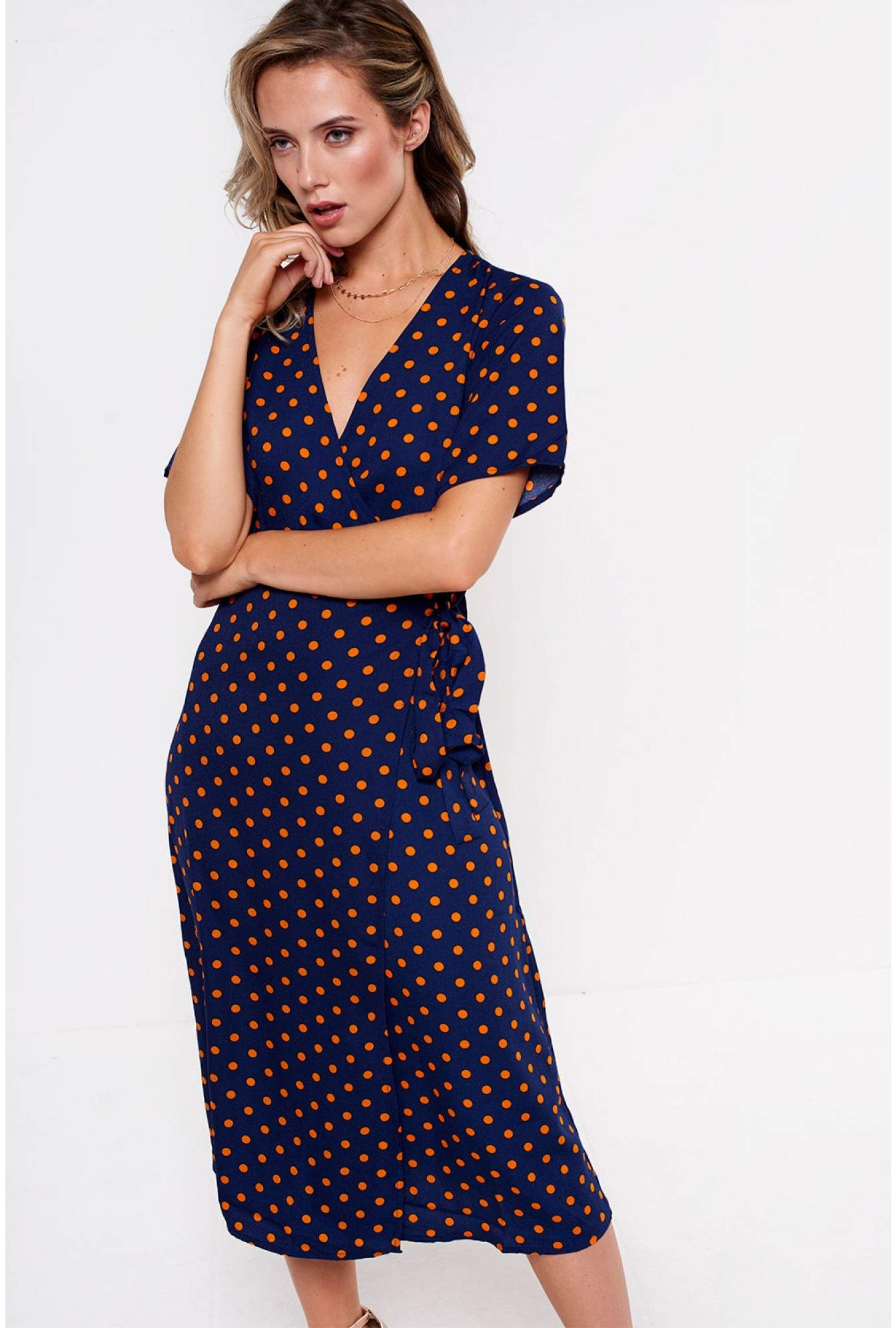617b6bf1e92d25 Vila Doyle Wrap Midi Dress in Navy Polka Dot | iCLOTHING