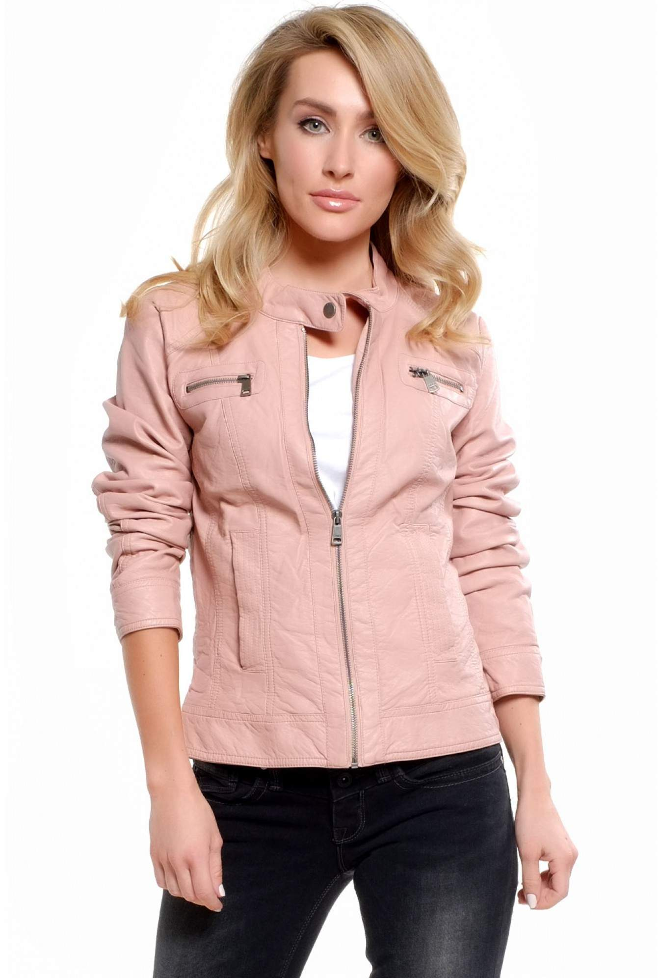 83c935f38f25 Only Melanie Faux Leather Jacket in Baby Pink