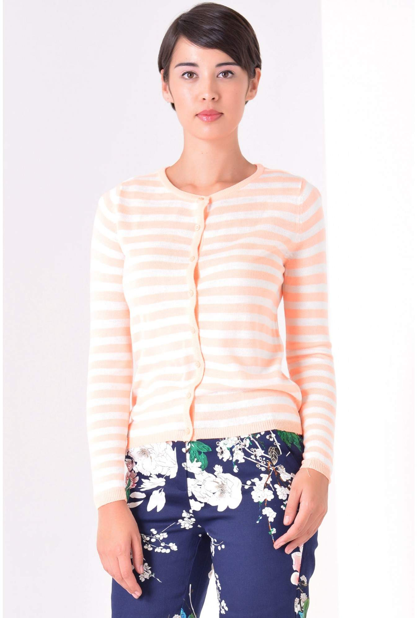d893ff14ee75 Only Betty Striped Cardigan in Neon Orange