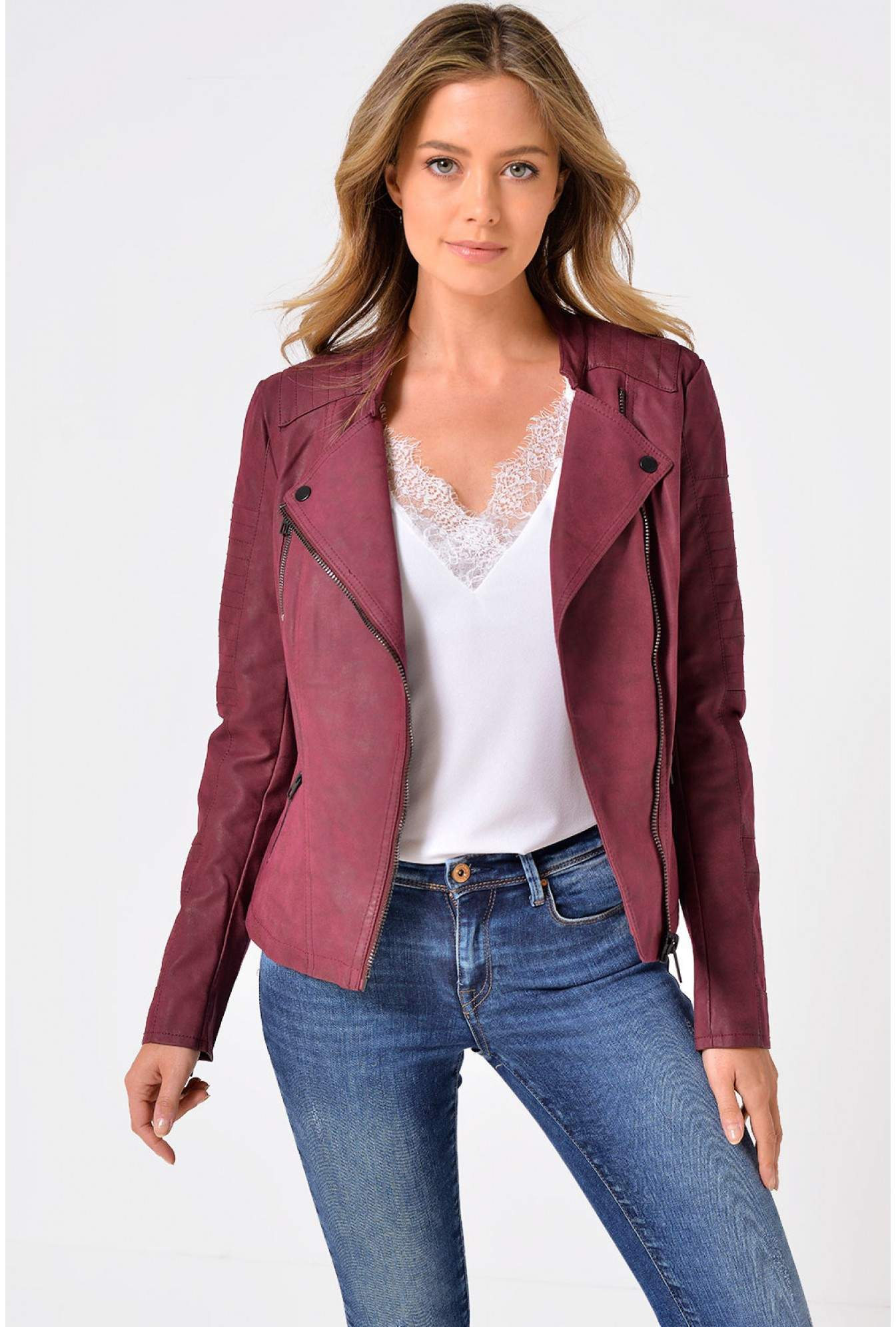 top-rated genuine beauty shop for genuine Ava Faux Leather Biker Jacket in Burgundy