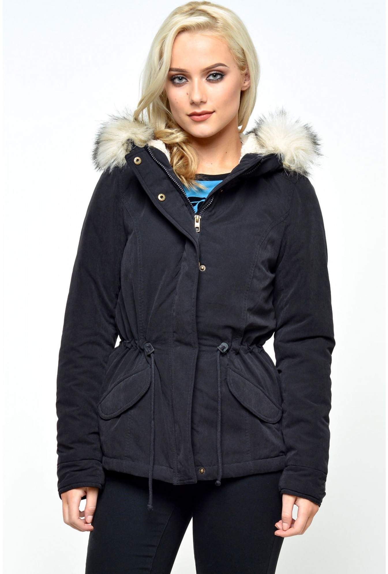 50a919e274d64 Only Lucca Short Parka Jacket in Dark Navy