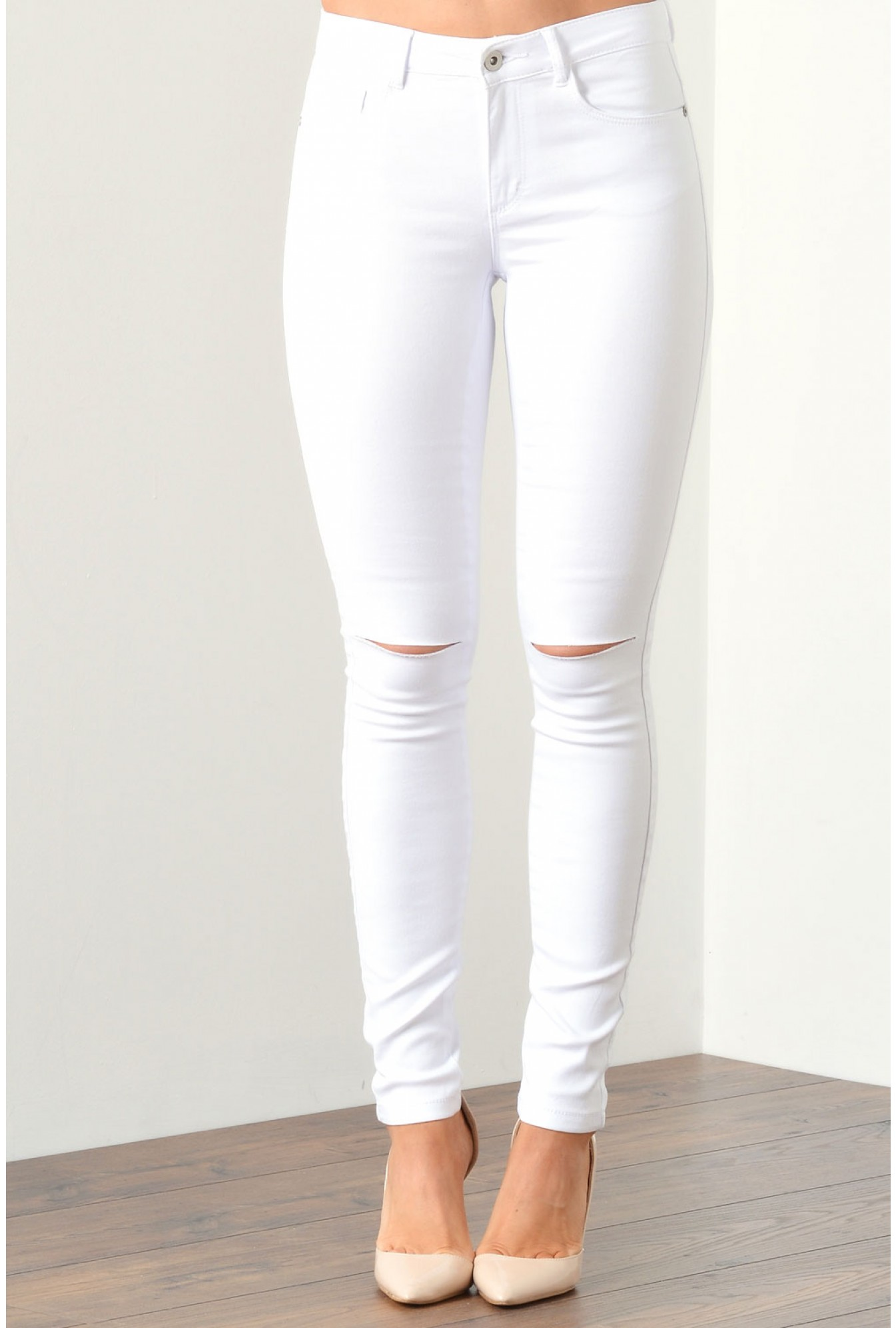 bd77e843a8522 Only Royal Regular Kneecut White Skinny Fit Jeans | iCLOTHING