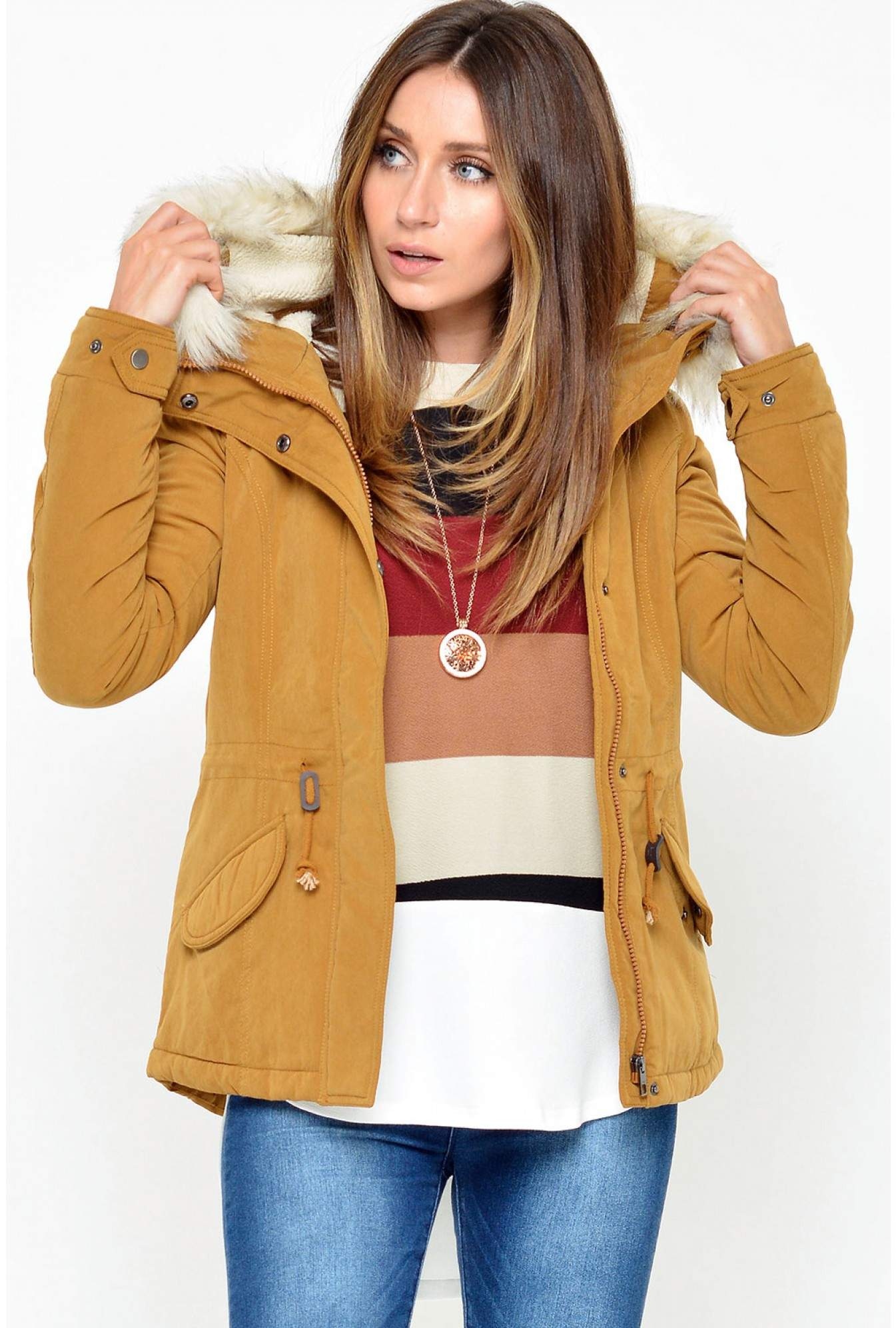 520580f68e701 Only Lucca Short Parka Jacket in Mustard