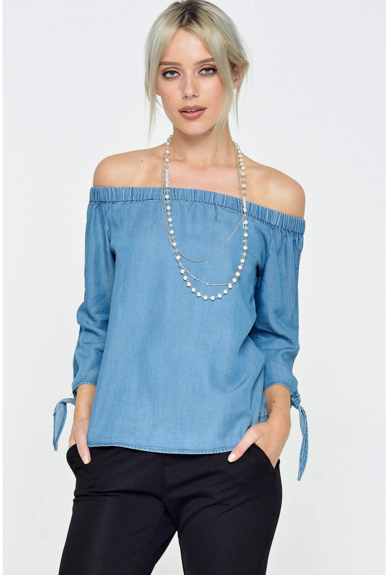 a0c14fbc9a9 Only India 3 4 Off Shoulder Top in Denim Blue
