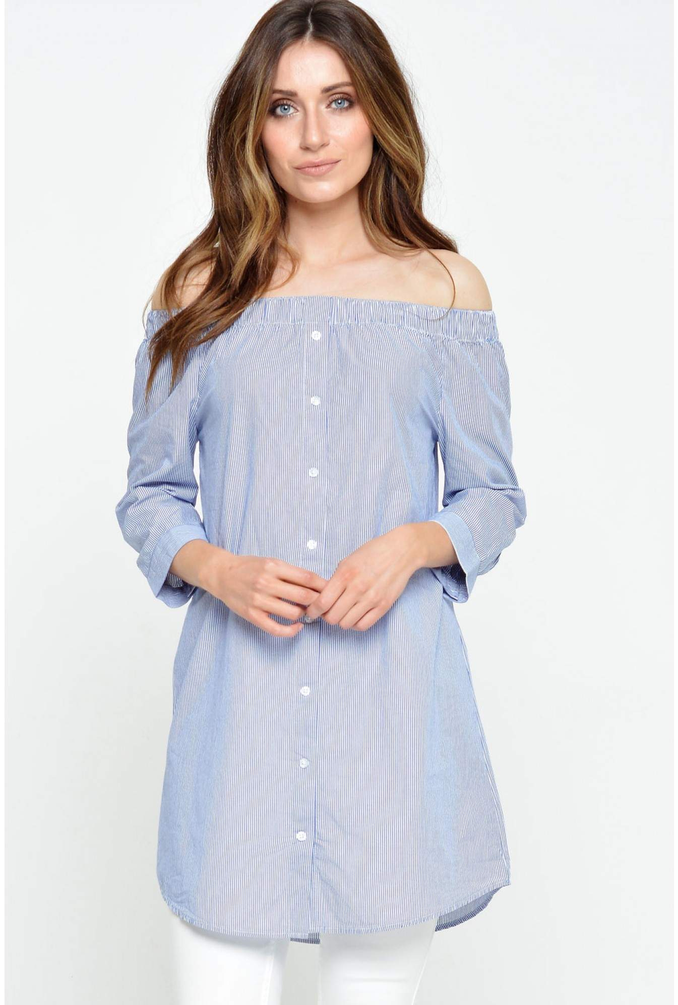 ab3a21ee76a7 Jacqueline De Yong Litzy Tiffany 3 4 Off Shoulder Tunic in Blue ...