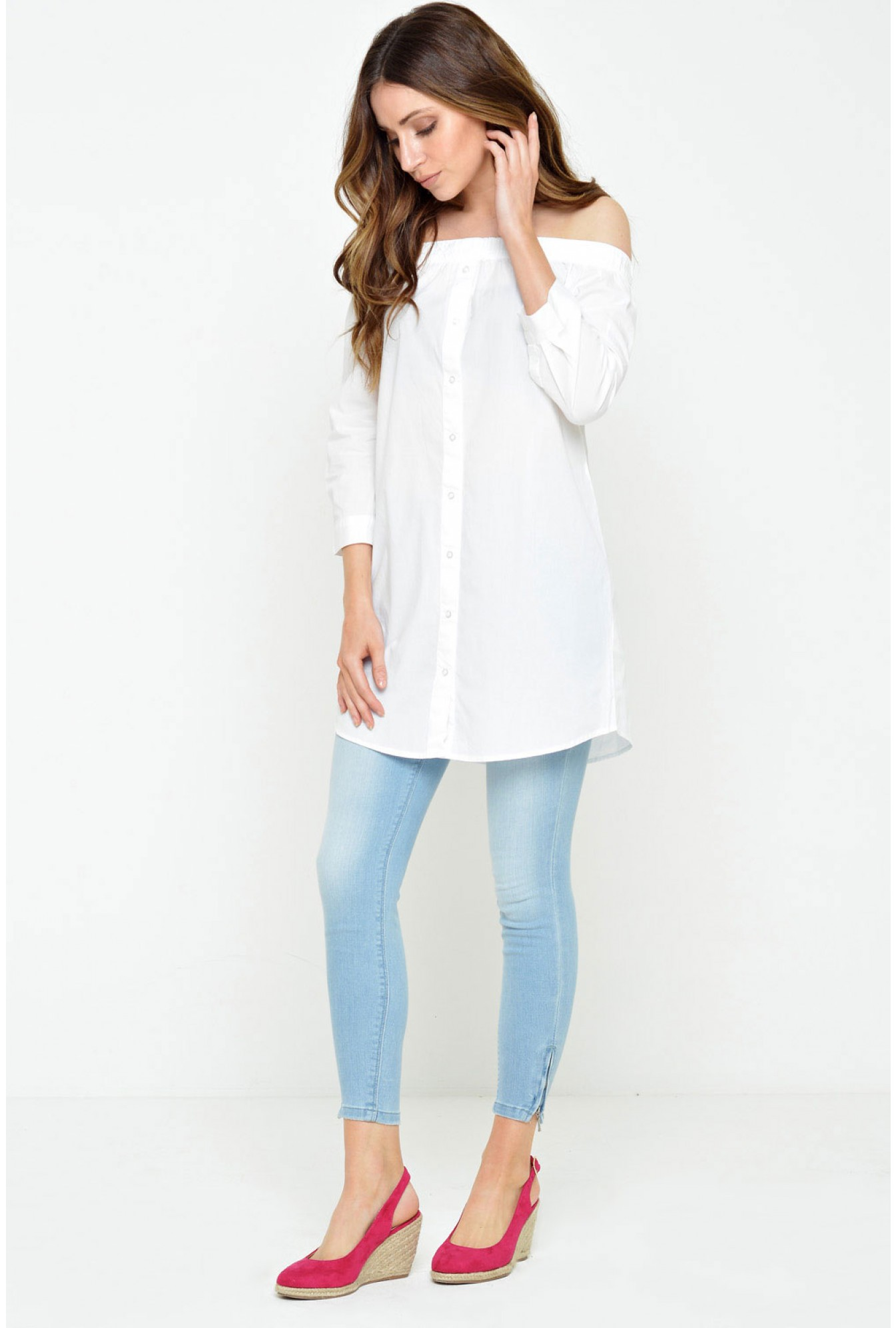 ceea90553efc Jacqueline De Yong Litzy Tiffany 3 4 Off Shoulder Tunic in White ...