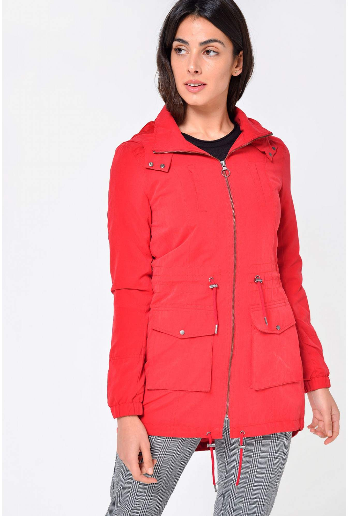 ef00d4063bcc More Views. Starry Longline Parka Jacket in Red. Only
