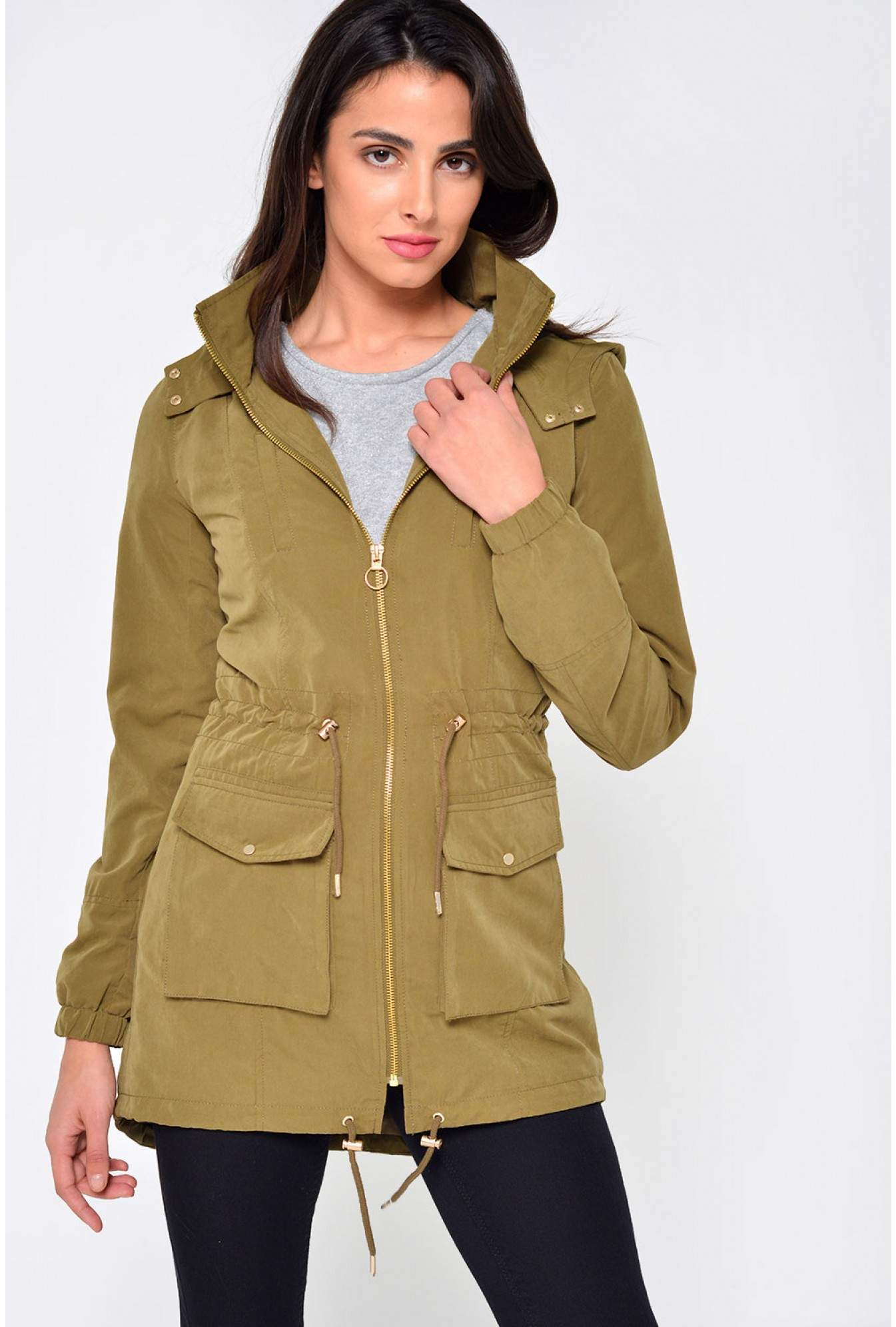 97165e10b2c9 More Views. Starry Longline Parka Jacket in Khaki. Only