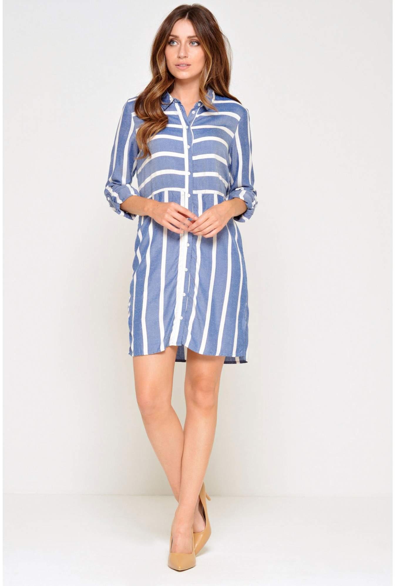 836b8c09a7b Jacqueline De Yong Jennar LS Stripe Shirt Dress in Blue