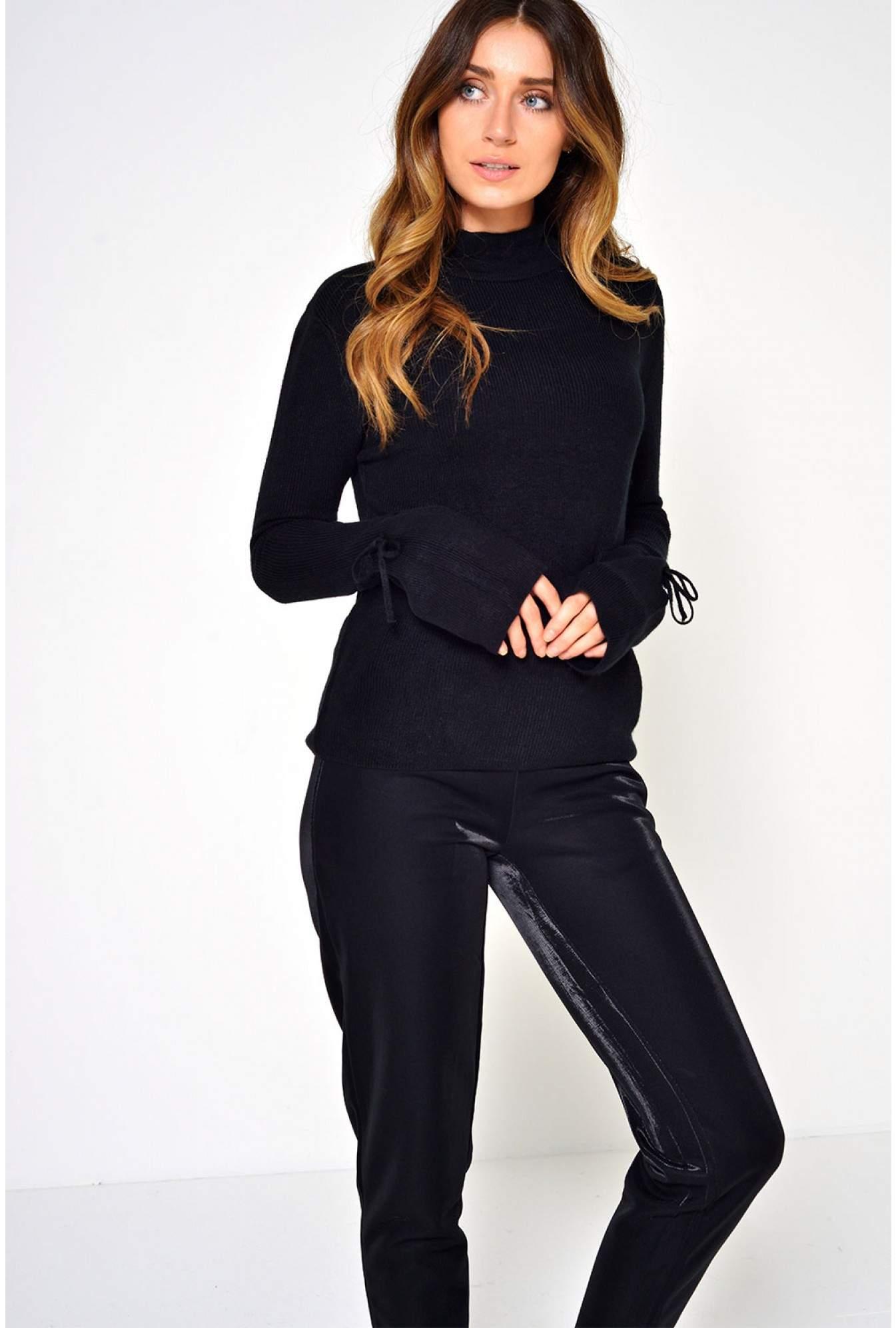 13fc72d2 Jacqueline De Yong Friends Tie Pullover in Black   iCLOTHING